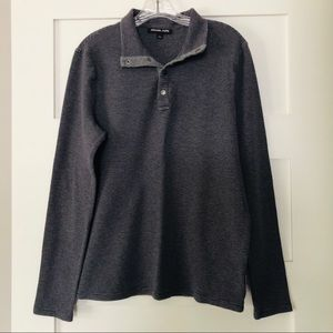 Waffle-Knit Long Sleeve Thermal Sweater